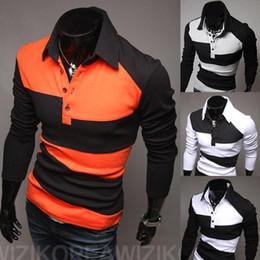 Wholesale 2014 Autumn Irregular Splicing Long Sleeved Polo Shirts Trendy Clothing British Stye Cotton Polo Men tops Casual Men s shirt XXL