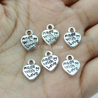 Wholesale 100pcs Tibetan Silver an Bronze Tone Heart Charms made with love charm jewelry accessaries