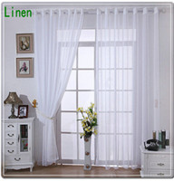 Linen curtain voile - New Arrival Linen Tulle Voile Sheer Curtains For Home White Cream Solid Color No Pattern Window Finishing