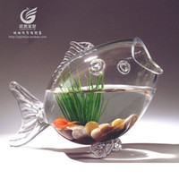 Wholesale Ultra white transparent aquarium fish shaped glass fishbowl small goldfish feeding accessories authentic special