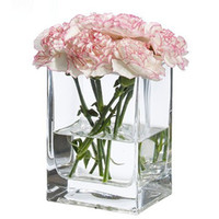 Wholesale Desktop display clear glass vase small mouth square vase fishbowl crystal vase special quality
