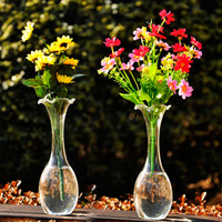 Wholesale H J transparent retro falbala necked glass flower vase elegant fashion Home Furnishing decorative arts and crafts