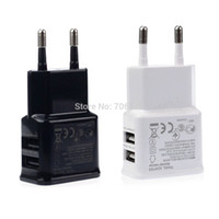 Wholesale 2A Dual Ports USB EU Wall Charger Adapter AC Chargers for Samsung for iPhone for HTC for MOTO Perfect