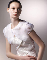 Wholesale Short Sleeves Vest White Chiffon Wedding Jackets For Wedding Dresses Bridal Accessories Instock Bolero Warps Cheap Jacket AJ58