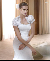 Cheap Holesale Instock Custom short Sleeves Ivory White Black Lace Wedding Dress Accessories Vest - Bridal Gown Bolero Jacket AJ28