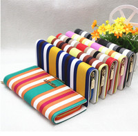 Wholesale Nice Mixed colors Women s medium long wallet female stripe wallet candy pu leather wallet decoration card holder coin purse W176