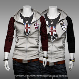 Wholesale The new fashion product color matching man cultivate one s morality personality the front zipper hooded fleece jacket