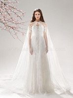 Wholesale 2015 White Applique Lace Bridal Wraps Tulle Wedding Coat Long Cape Wedding Jackets For Bride Custom Made RX987