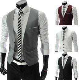Wholesale 2014 New Arrival Men Suit Vest Slim Dress Vests Men s Fitted Leisure Waistcoat Casual Business Jacket Tops Three Buttons
