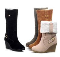Wholesale fashion high heeled boots snow boots winter boots wedges shoes long boots black yellow green beige