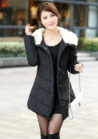 Wholesale Medium long Length Winter Cotton padded Clothing Faux Plush Collar Long Sleeves Design Woman s Wadded Jacket Outer Coat CL903