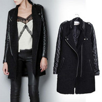 Cheap New Fashion Autumn Winter Women Brand Faux Soft Leather Jackets Pu Black Blazer Zippers Long