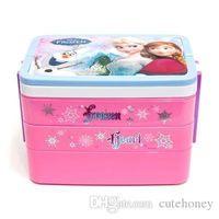 Wholesale Frozen lunch box baby girls Pincess Anna Elsa bento box with spork kids Dinnerware Sets Three layers tableware
