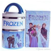 Cheap New arrival Frozen lunch box baby girls Pincess Anna Elsa insulation barrels bento kids Double stainless steel Heat Preservation