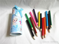 pencil holder - Retail Frozen Pencil bag with Colored pencil baby girls Elsa Anna pencil holder case Children stationery set colors pencil