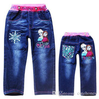 Wholesale children Frozen jeans pants baby girls fashion casual Elsa Anna jeans kids cartoon trousers