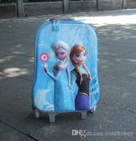 Wholesale Hot kids Frozen Luggage inch Children Snow Queen Elsa trolley case Travel Luggage Bags