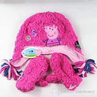 Wholesale set baby girls Peppa Pig Hat Glove Sets kids winter fleece snow hat with earflaps cap