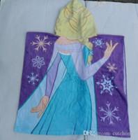 baby bathrobe - New cm Frozen Elsa bath towel Beach Towel kids Cotton Hooded Towel baby Girls princess Cloak bathrobe