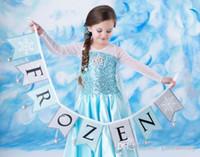 retail shawls - Retail Frozen dresses baby girls princess Elsa dress Children summer sequins dress with shawl Y