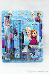 Wholesale Children Frozen stationery set kids cartoon School Supplies Snow Queen Elsa Anna stationery set ruler rubber pencil sets