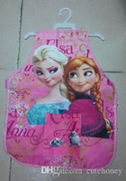 Wholesale 10pcs baby girls Frozen Apron Children cooking apron kids princess Elsa Anna Sanitary Waterproof apron Cover Up blue pink
