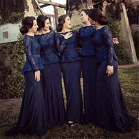 Cheap 2015 Sheer Navy Blue Long Sleeves Bridesmaid Dresses Peplum Lace Chiffon Sweep Train Formal Celebrity Evening Gowns IUD4416