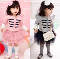 Cheap New 2014 autumn baby girls clothing sets 2 pieces long sleeve jacket coat+tutu princess skirt kids clothes