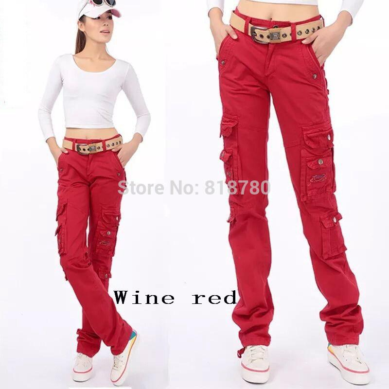 Women Outdoor Hiking Vêtements de sport Red Cargo Pants Women's Straight Multi-P