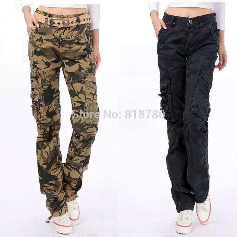 Hottest Women Camouflage Cargo Pants Hiking&Camping Multi Pockets ...
