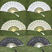 bamboo photography - Fashion Lace Edge Wedding Fans for Bride Hot Sale Bamboo Princess Hand Fan Short Tassel Bridal Accessories Photography Props Dance Fans