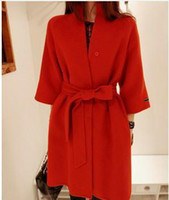 Cheap Free shipping new 2014 wool coat women's autumn winter wool jacket with belt fashion red wool overcoat outerwear T008