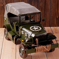 Wholesale Iron Handmade Four wheel Military Car Mold Retro Home Decoration Mold Metal Art WJQ