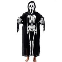 Wholesale Performance Costume Human Skeleton Mantle Fancy Dress for Halloween Days Ghost Cloak x09
