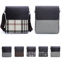 Wholesale 2015 New Arrival Fashion Men Shoulder Messenger Bags Top Handbags PU Leather Men Crossbody Bag Briefcases Plaid Casual Bags Styles