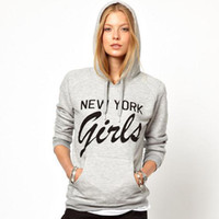 wholesale fashion in new york - Fashion women New York Girls pocket before printing gray hooded long sleeved fleece sweatshirt in stock