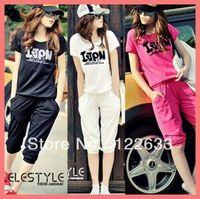 Cheap Free Shipping Women Cotton Letter Short Sleeve T-Shirt + Pants Sports Suit Casual Clothes Tracksuit Sweat Suit Fashion 2013