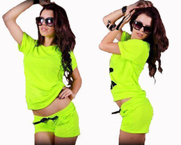 Wholesale 2014 New Plus Size Sport Suit Women Summer Neon Short Sleeve T Shirt and Shorts pieces Clothing Set Ladies Tracksuits