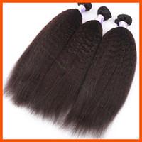 Wholesale Virgin Human Hair Yaki Wave Wavy Natural Blcak Brazilian Hair Extension Weft Weave Unprocessed Indian Remy Hair