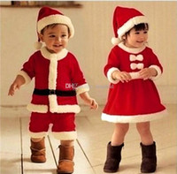 Wholesale IN Stock Children s Christmas dress baby clothing boys and girls Christmas dress performance clothing Christmas show Suit Free Shipp