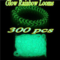Cheap Colorful Loom Glow in the dark 300 bands 12 S clips bag Rainbow Loom Glow Multi Color Rubber Bands Christmas gift DIY charm bracelet