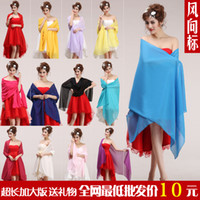 Wholesale 2015 Bridal Bolero Dinner Formal Dress Married Sun Silk Scarf Spring And Summer Wedding Bolero Jacket Red Chiffon High Quality