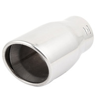 Wholesale Car Silver Tone Stainless Steel mm Inlet Dia Oval Slanted Exhaust Muffler