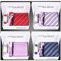 Wholesale 100set New model set Silk ties Men s Ties fashion Necktie set Plaid Stripe Mans Tie Neckties with gift box