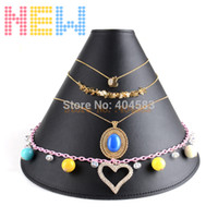 Wholesale 5pcs New arrival Black PU leather EVA Necklace Display Stand Necklace Holder Necklace Big size