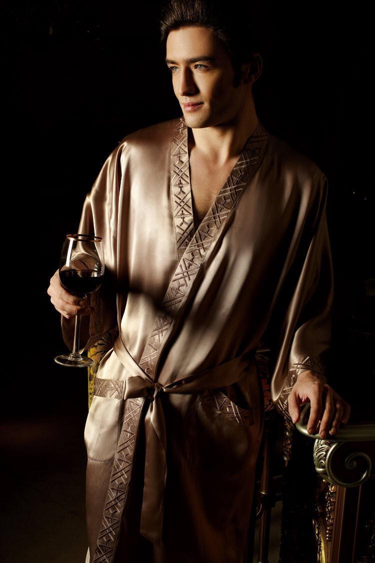 new pure 19mm silk men sleepwear kimono robe man 39 s pajama robe bathrobe 8121 size l xl xxl silk. Black Bedroom Furniture Sets. Home Design Ideas