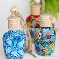Wholesale 15 ml Car hang decoration Ceramic essence oil Perfume bottle Hang rope empty bottle