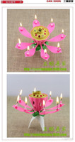 Wholesale New Lotus Music Candles Lotus Petal Wedding Birthday party Flower Music Candle Lotus style Birthday party