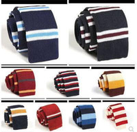 Wholesale 10 Men Knitting Neck Ties Men s casual stripe kintted polyester Silk Narrow Design Flat end Necktie Neck Ties Tie