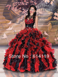 Wholesale New Style Charming Quinceanera Dresses Ball Gown Floor length Ruffle Organza Prom Dresses